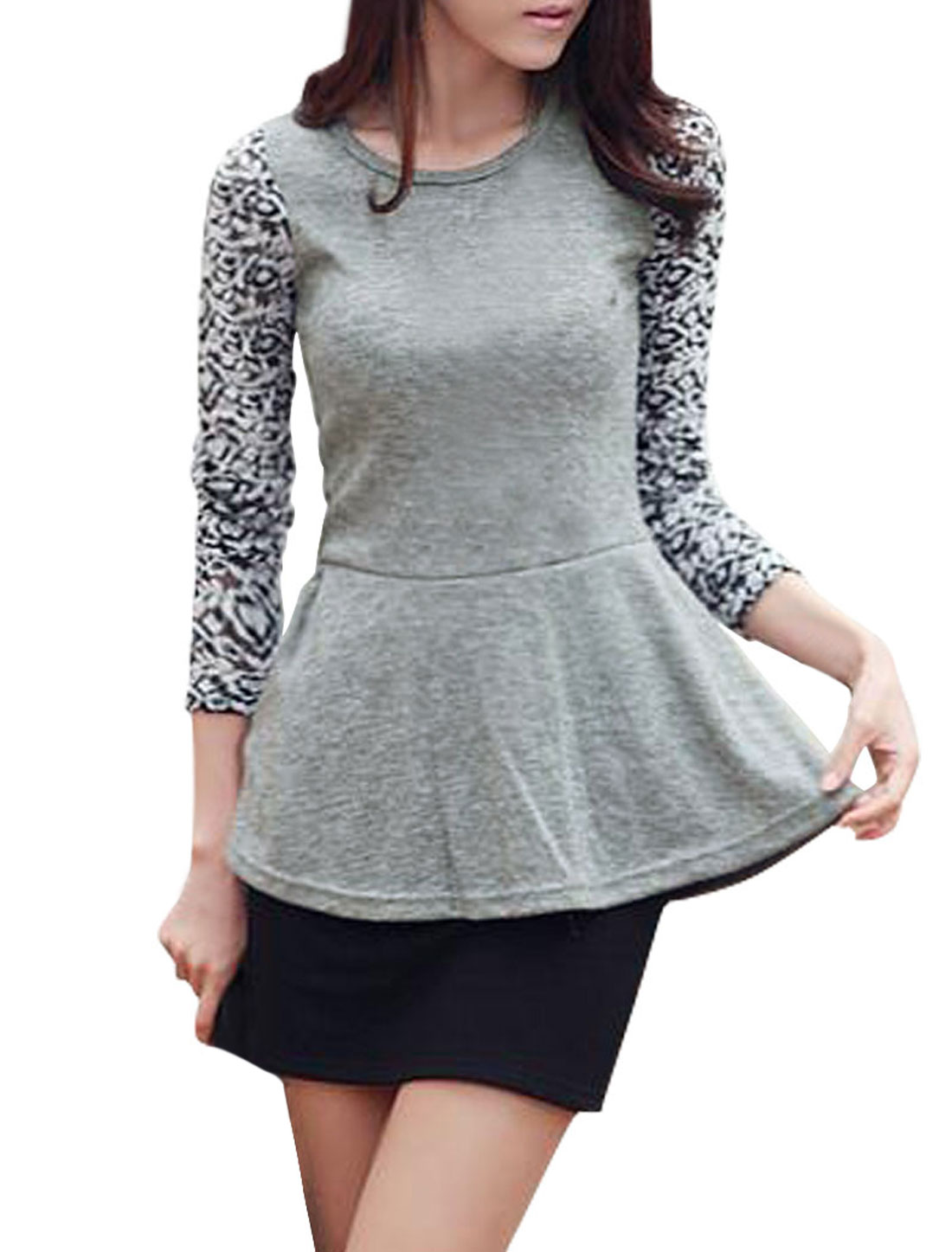Ladies Light Gray Bracelet Sleeves Autumn Stretchy Pullover Shirt Xs