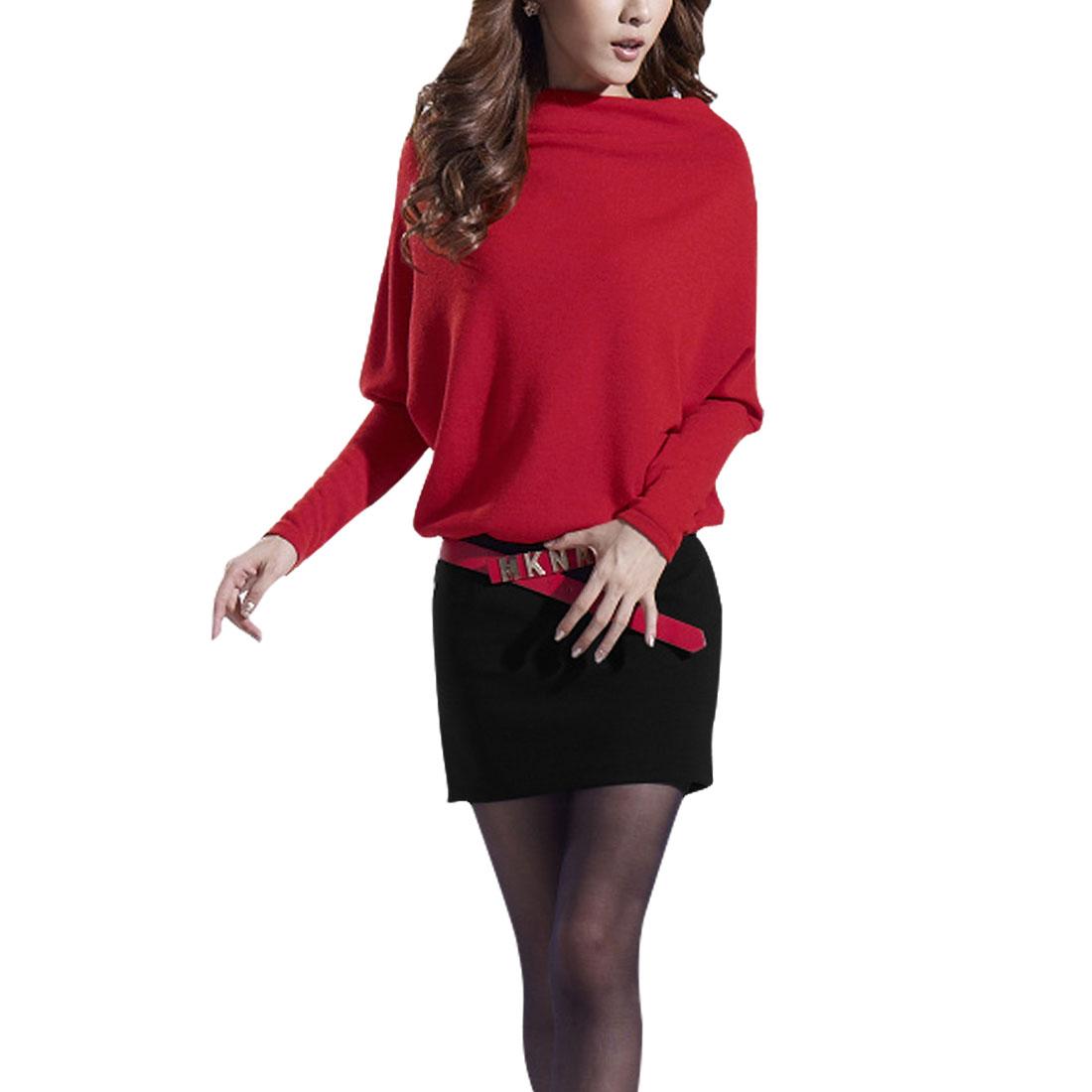 Elegant Women Panel Dolman Stretch Belt Above Knee Dress Red Black Xs