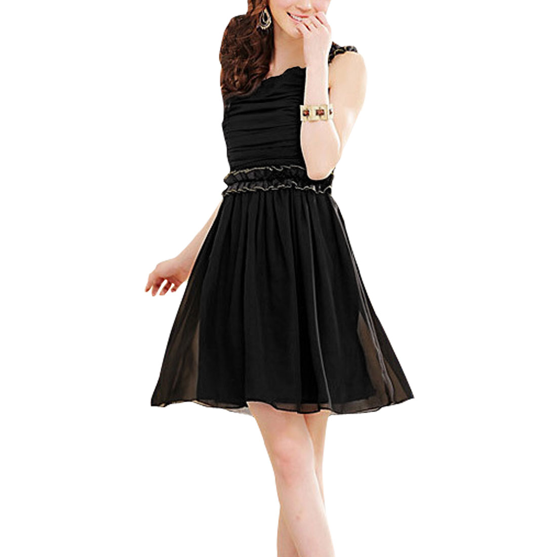 Ladies Black Elastic Waist Ruffled Detail Casual Chiffon Dress Xs
