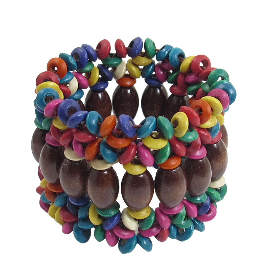 "Lady Round Beads Stretch Multi Shaped Strings 2"" Width Bracelet Bangle Colorful"