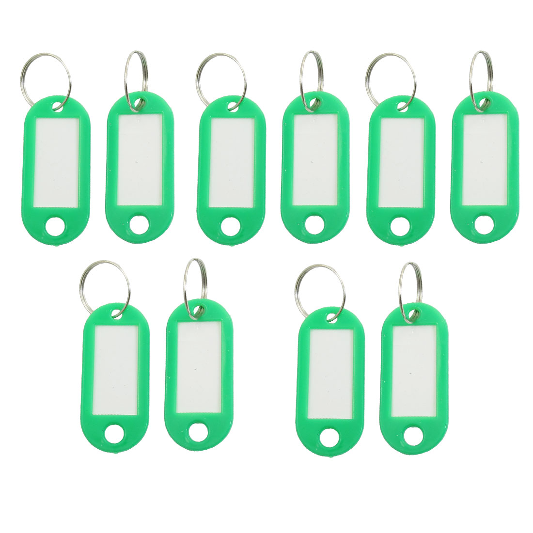 Bag Plastic Name Notes Tag ID Label Split Ring Keychain Key Holder Green 10 PCS