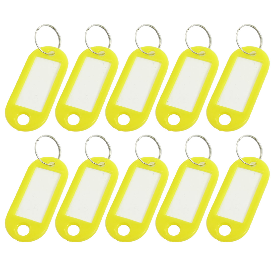 10PCS Yellow Plastic Key ID Label Name Card Tags Split Ring Keyring