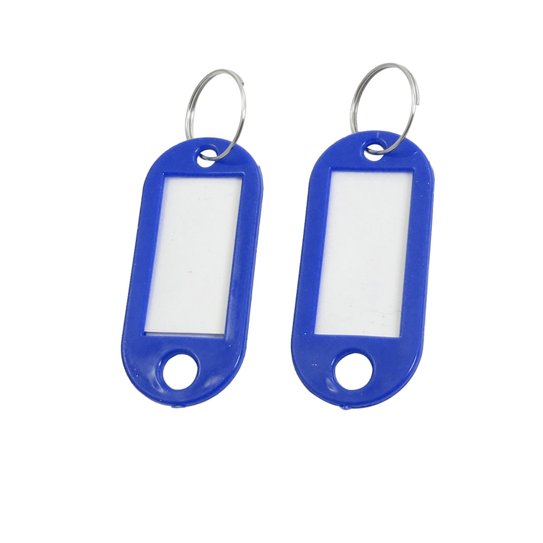 Factory Blue Plastic Mini Holder ID Key Labels Tags Keyring Keychain 10PCS