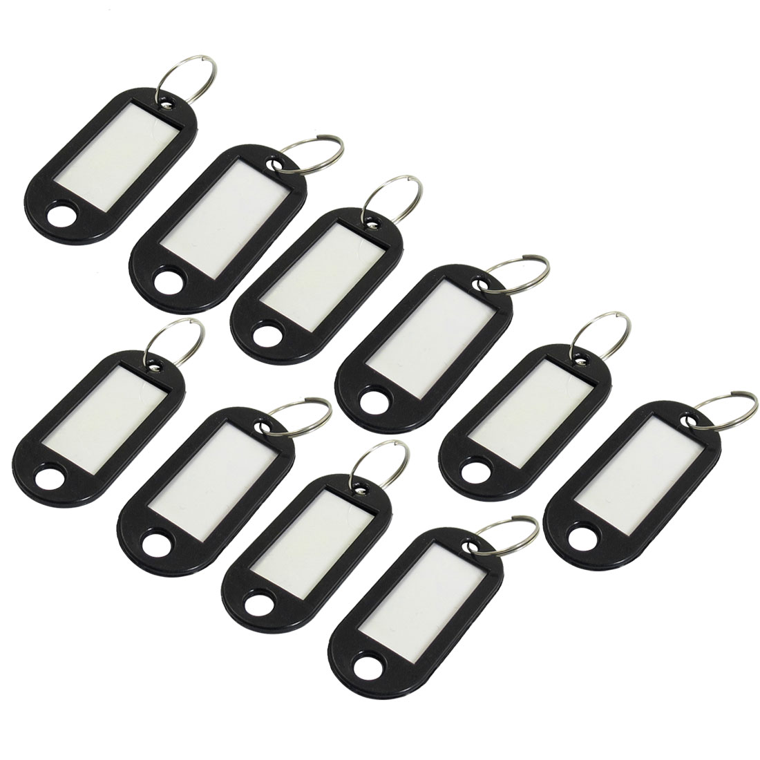 Company Factory Black Plastic Holder ID Key Labels Tags Keyring Keychain 10PCS