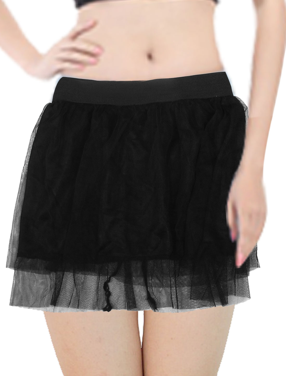 Ladies Two Layers Elastic Waist Casual Mini Skirt Black XS