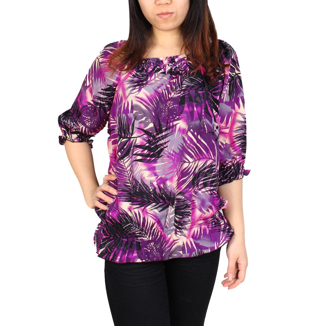 Ladies Leaf Pattern Elastic Waist Short Sleeve Boat Neck Top Blouse Shirt Purple Black M