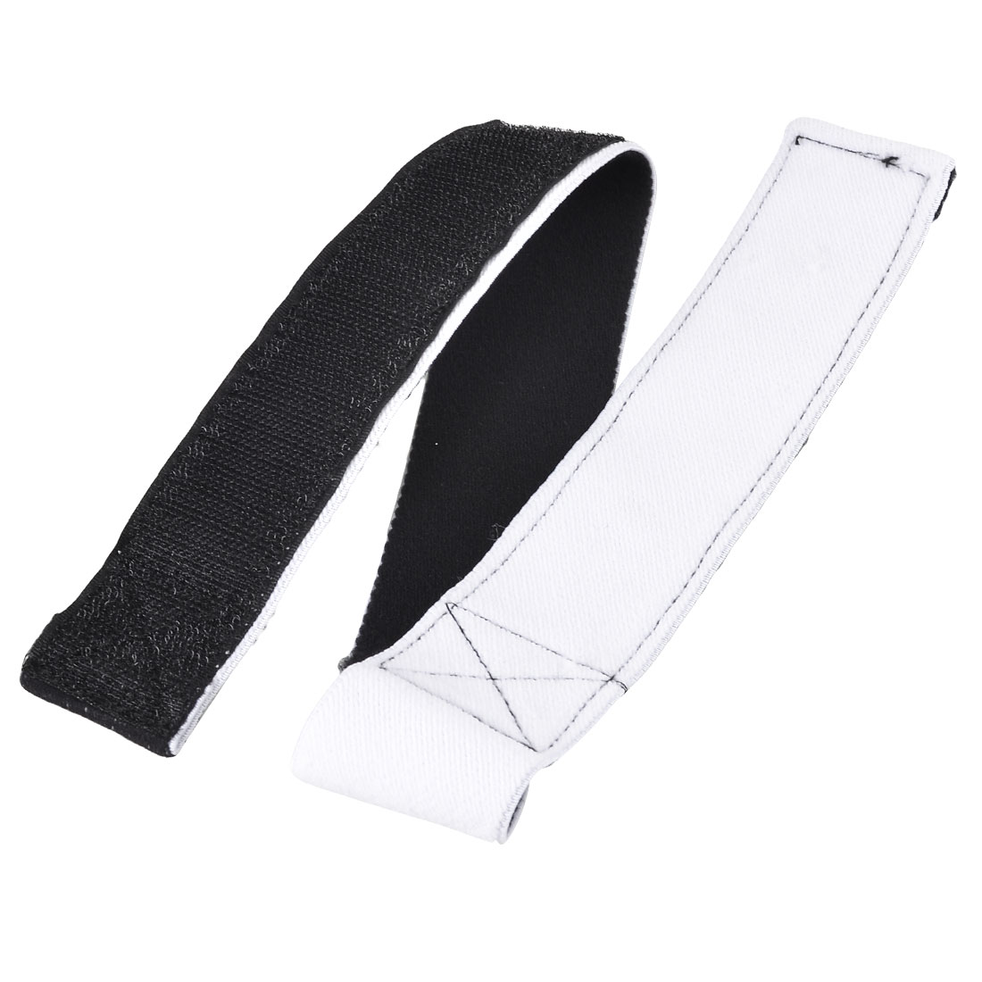 Loop Hook Closure 3 Legged Race Tie Adjustable Stretchy Band Strap Black White
