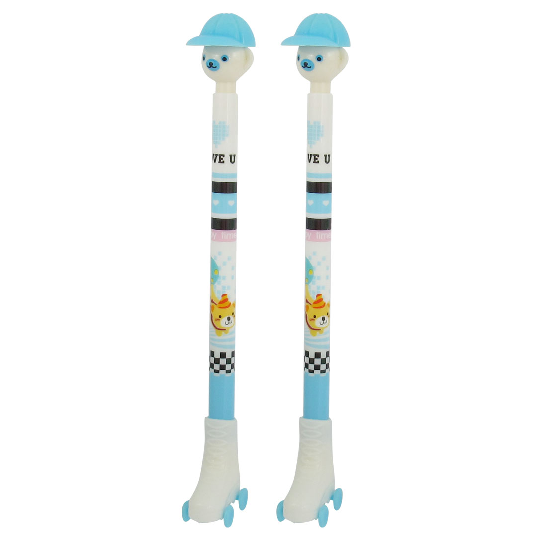 2 Pcs Blue White Plastic Ice Skates Design Self Lock Ball Point Pen