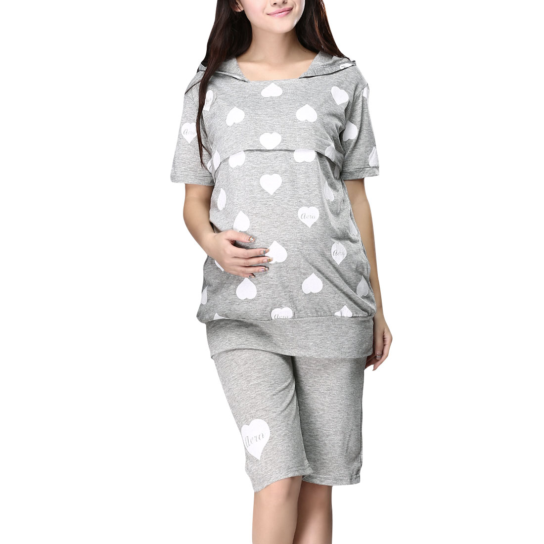 Motherhood Woman Short Sleeve Pullover Light Gray Heat Design Pajamas M