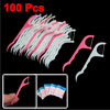 100 Pcs Floss Picks Teeth Toothpicks Stick Oral Care White Fuchsia