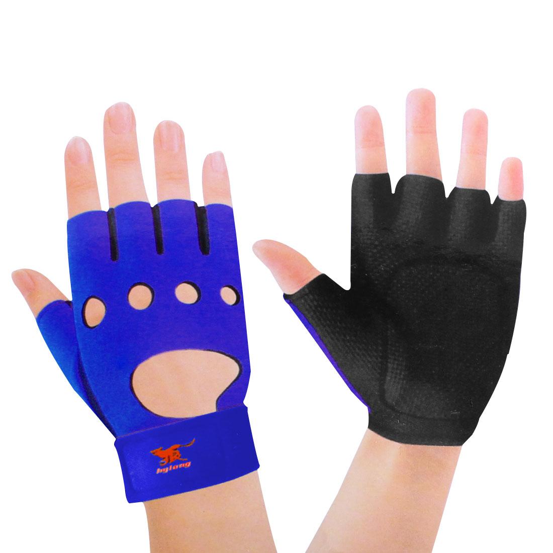 Hook Loop Fastener Black Blue Neoprene Driving Sport Gloves for Ladies Man