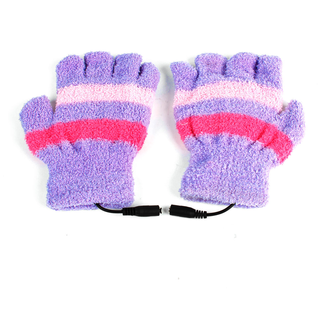 USB 2.0 Laptop Purple Pink Heating Soft Warm Fleece Hands Warmer Gloves