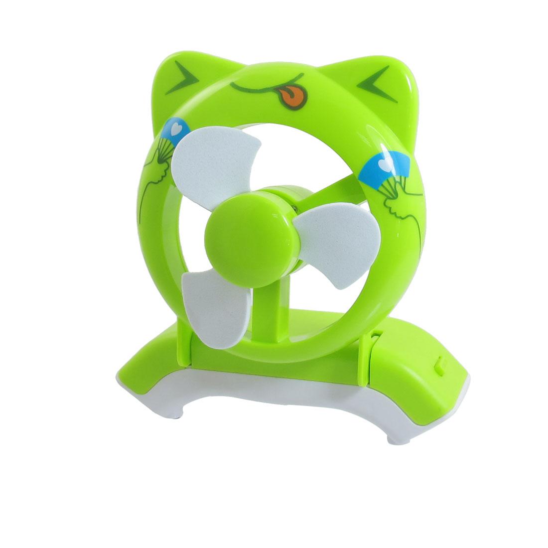 Cartoon Frog Design Portable Battery USB Power PC Laptop Cooler Mini Fan Green