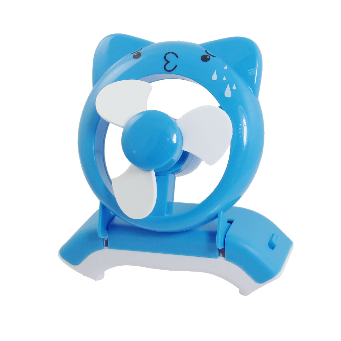 PC USB Connector Battery Powered Cartoon Bear Style Mini Desk Cooling Fan Blue