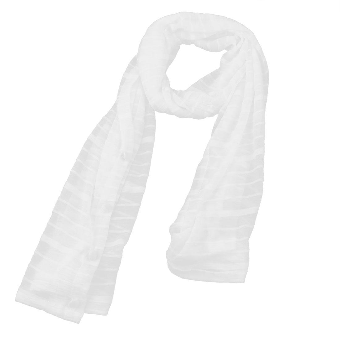 "56.7"" x 18.3"" Button Down Design White Rectangle Wrap Shawl"