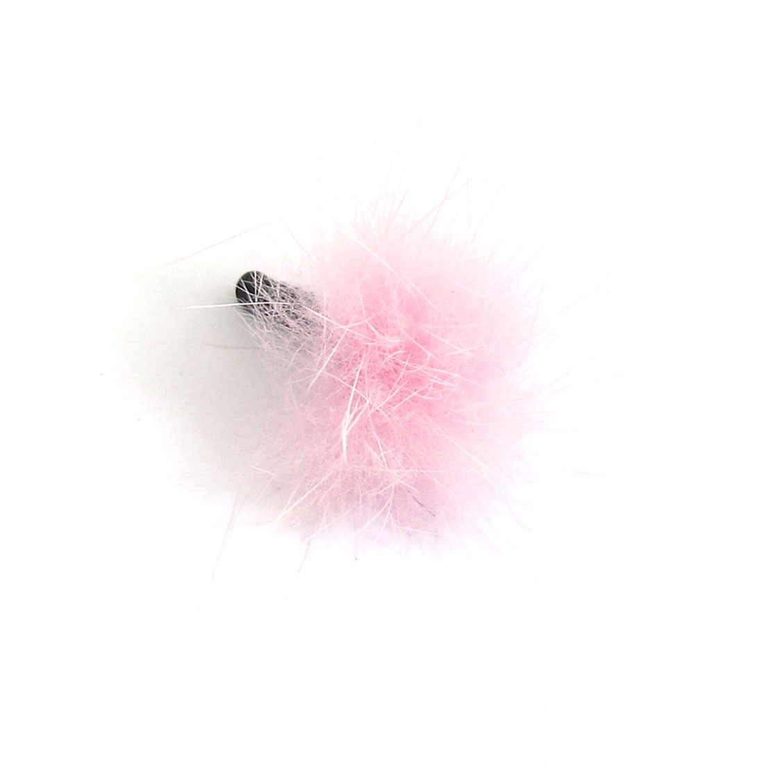 Pink Faux Fur Ball Anti-dust Stopper for 3.5mm Earphone Jack