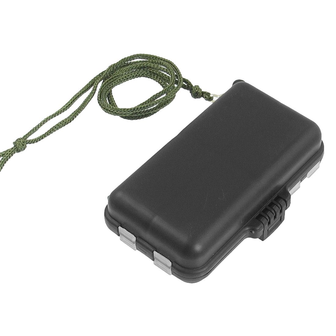 Black Plastic 9 Compartments Fishhook Lure Storage Case Box + Strap