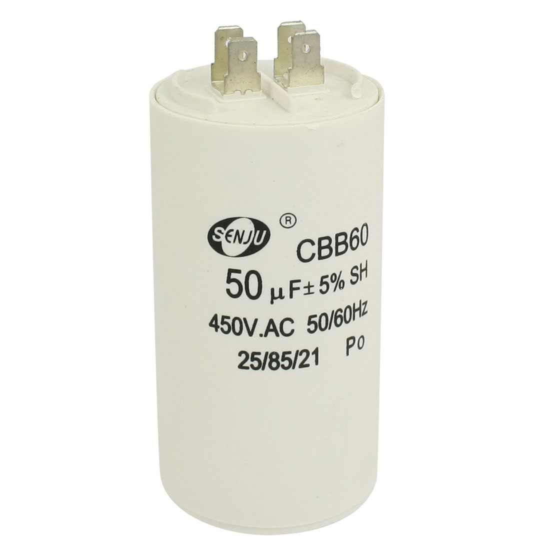 50uF 450VAC CBB60 Motor Running Capacitor White for Washing Machine