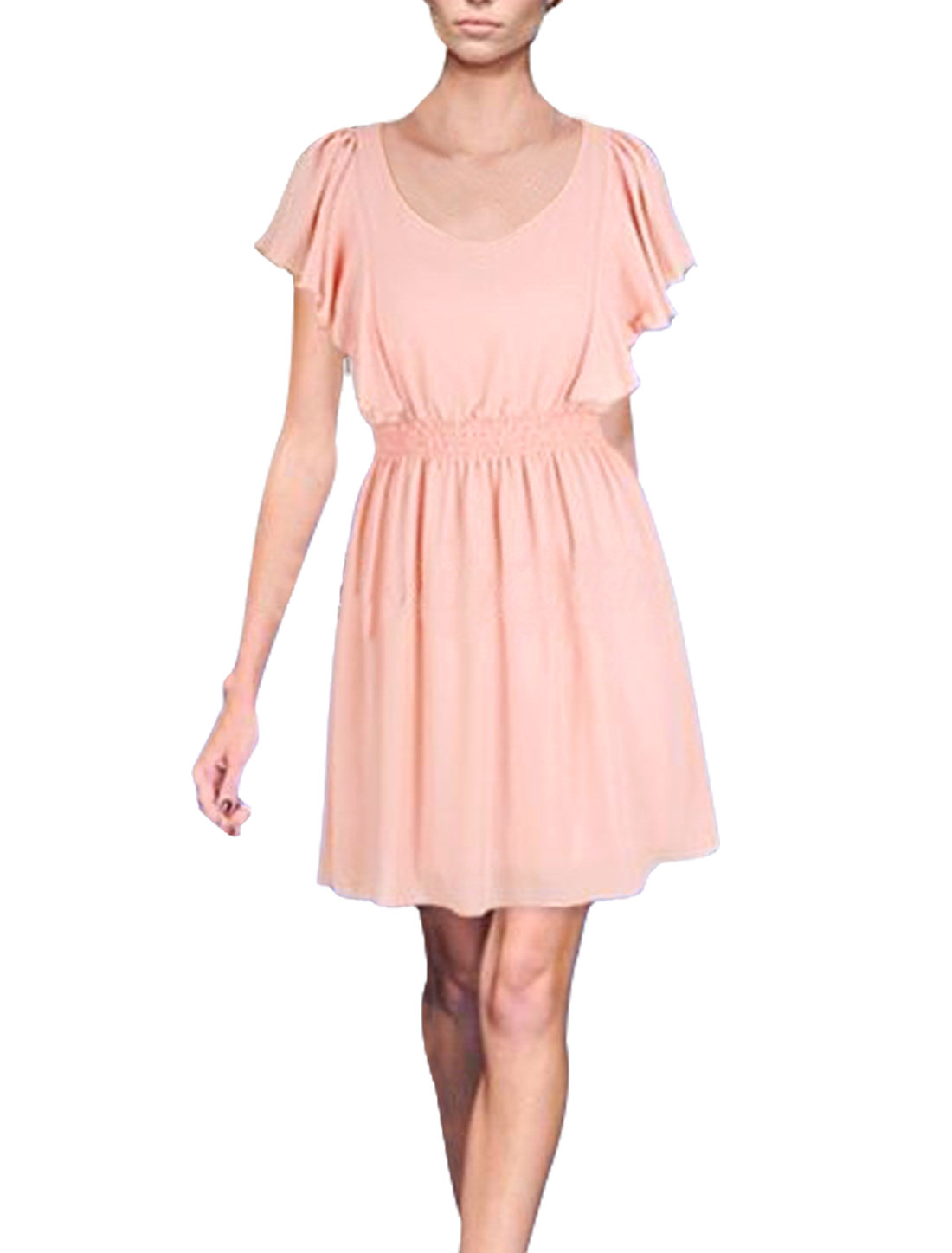Lady Light Pink V Neck Short Sleeve Smock Waist Semi Sheer Chiffon Mini Dress XS