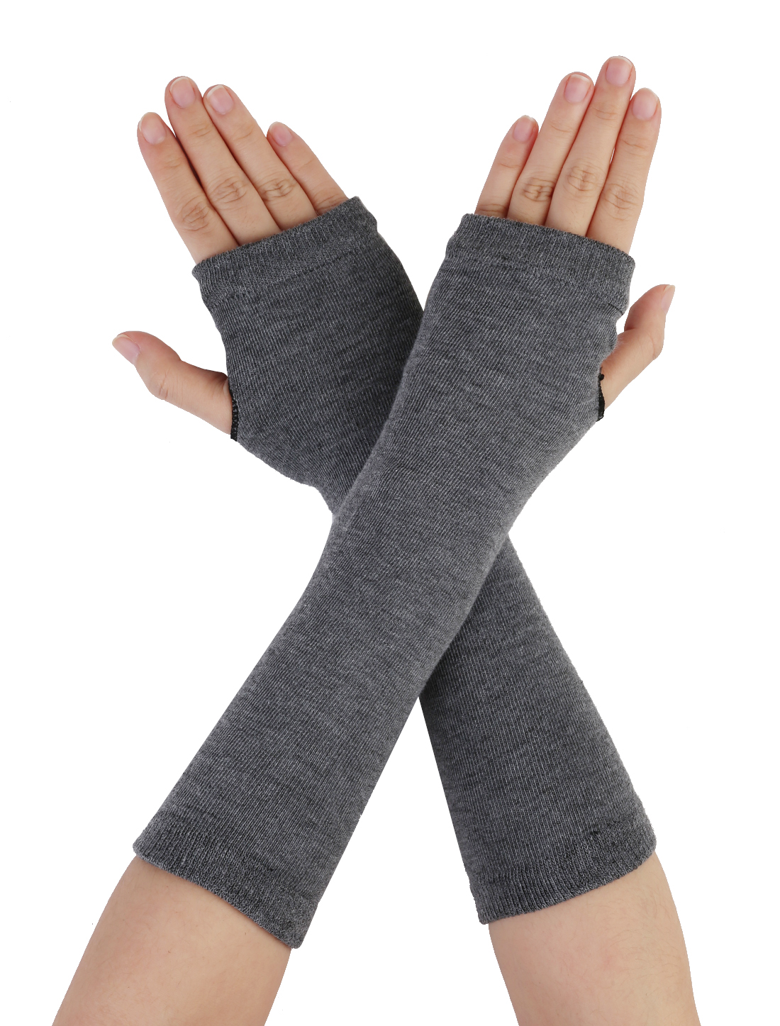 Gray Knitted Fingerless Long Gloves Arm Warmers for Lady