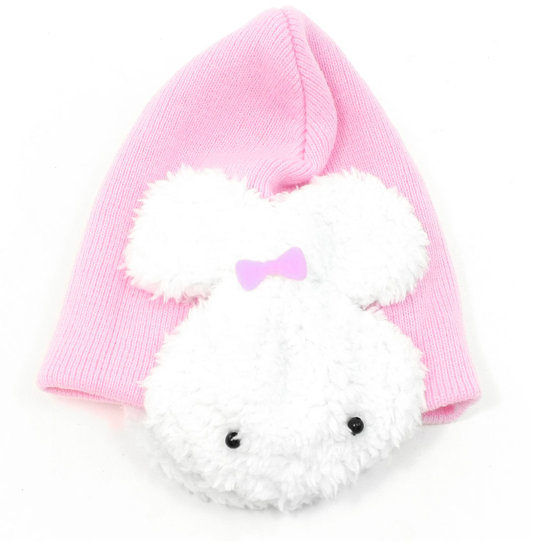 Rabbit Decor Pink Ears Winter Protective Knitting Beanie Hat Cap for Kid