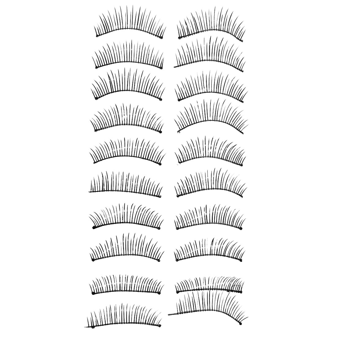 Women Soft Plastic Volume Curl Long False Eyelashes Cosmetic Tool Black 10 Pairs