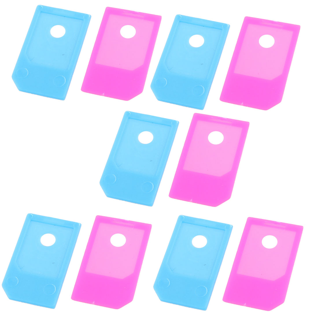 10 Pcs Light Blue Fuchsia Micro SIM to SIM Adapter for Phone