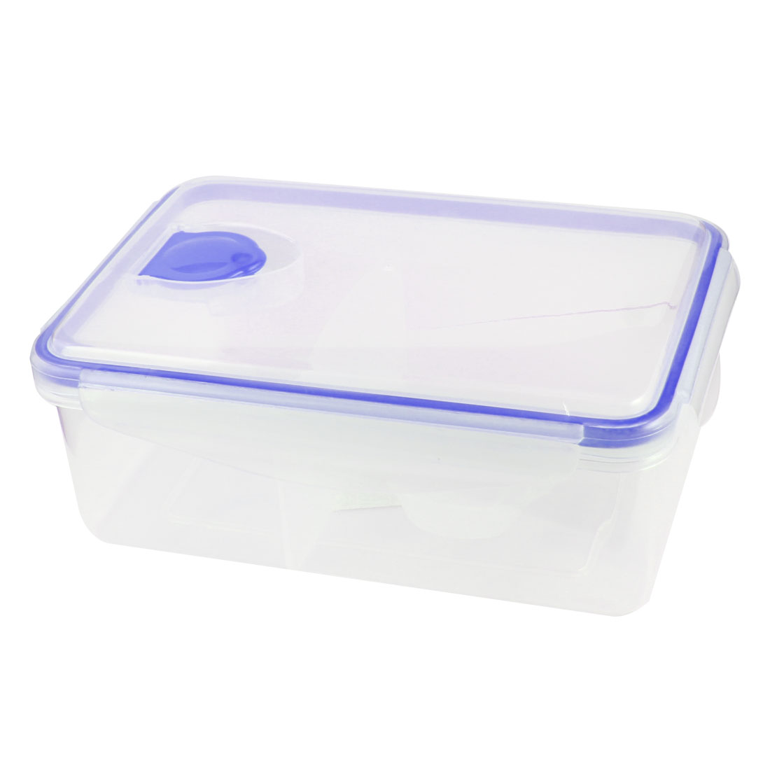 Picnic Blue Clear Plastic 2 Compartments Meal Lunch Pail Box w Spoon