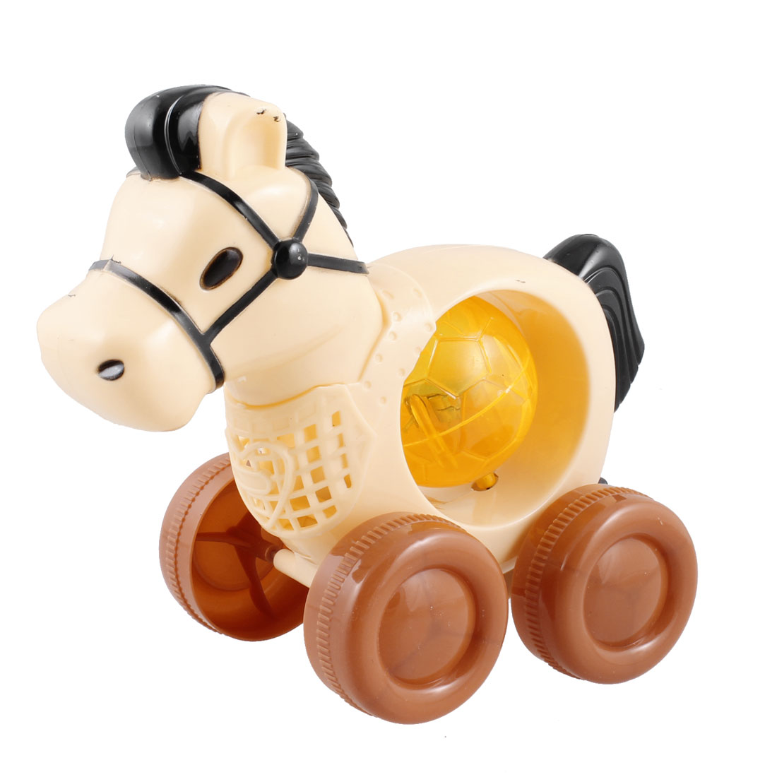 Pale Yellow Pull Design Plastic Flashlight Horse Toy