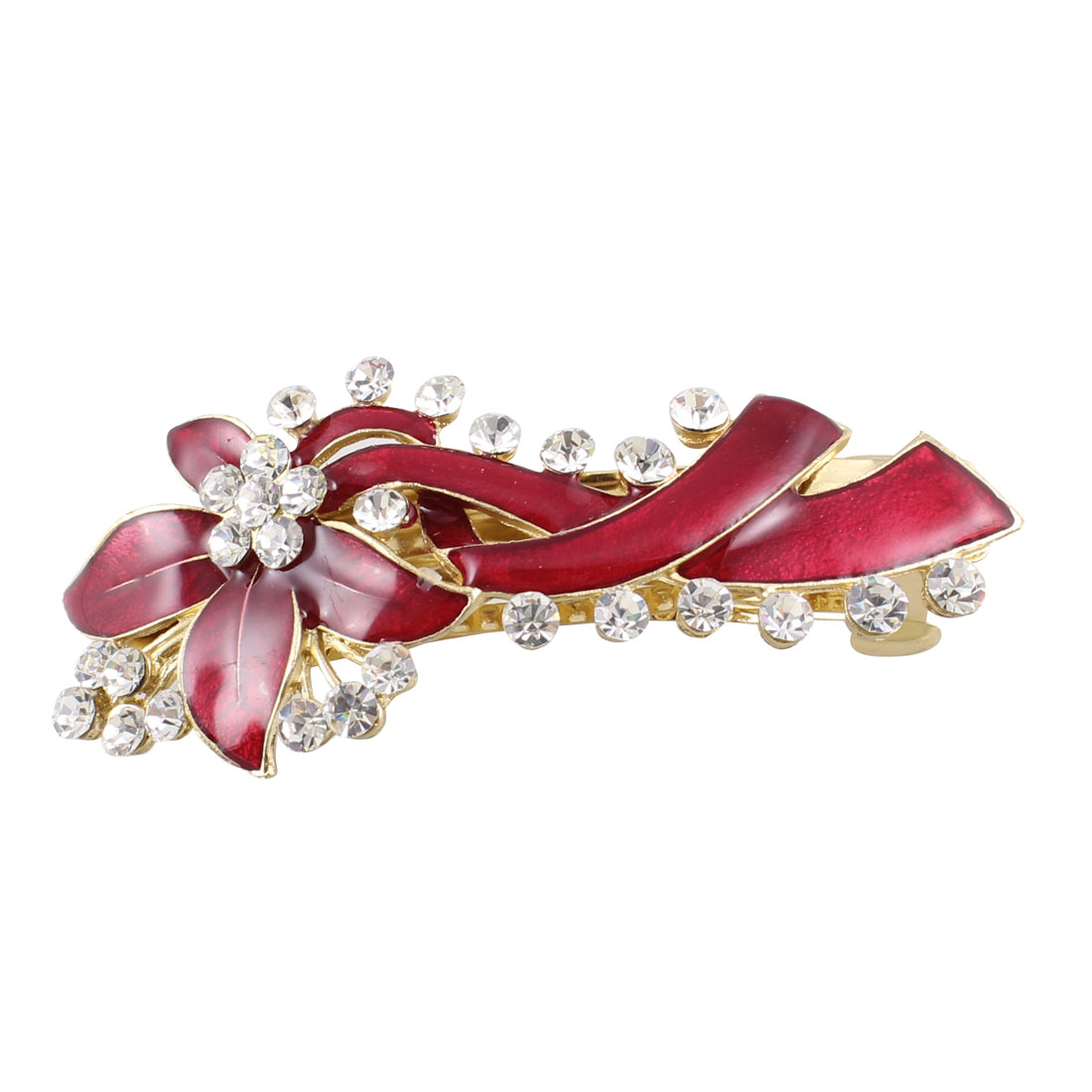 Rhinestone Accent Red Leaves Detail Hair Clip Barrette for Ladies