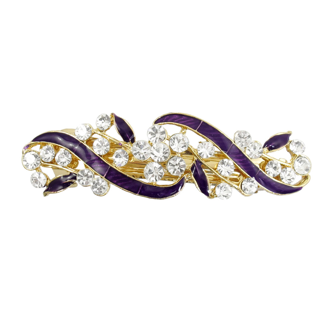 Gold Tone Metal French Clip Faux Crystal Inlaid Purple Hairclip Barrette
