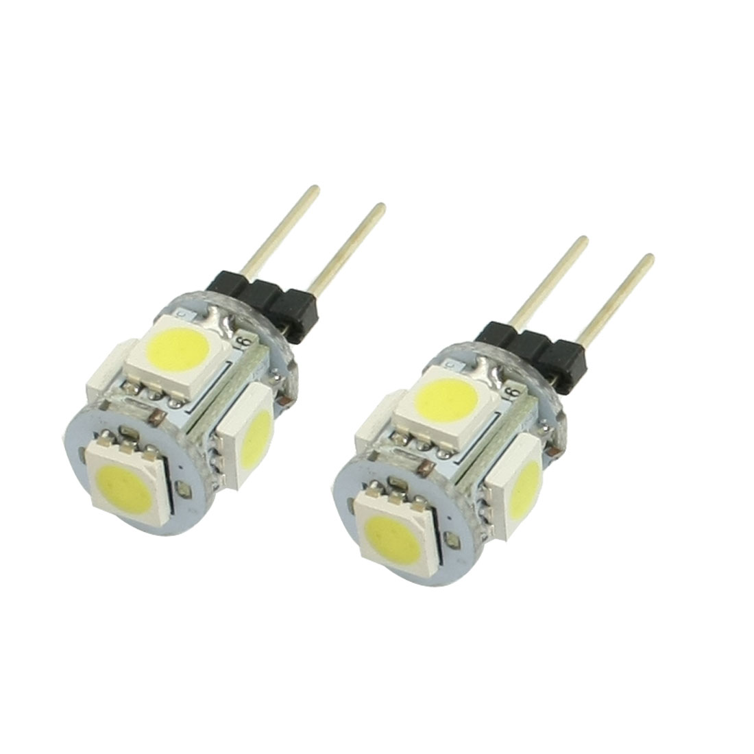 2 Pcs Vertical Pin G4 Base White 5050 SMD 5-LED Bulb Light Lamp