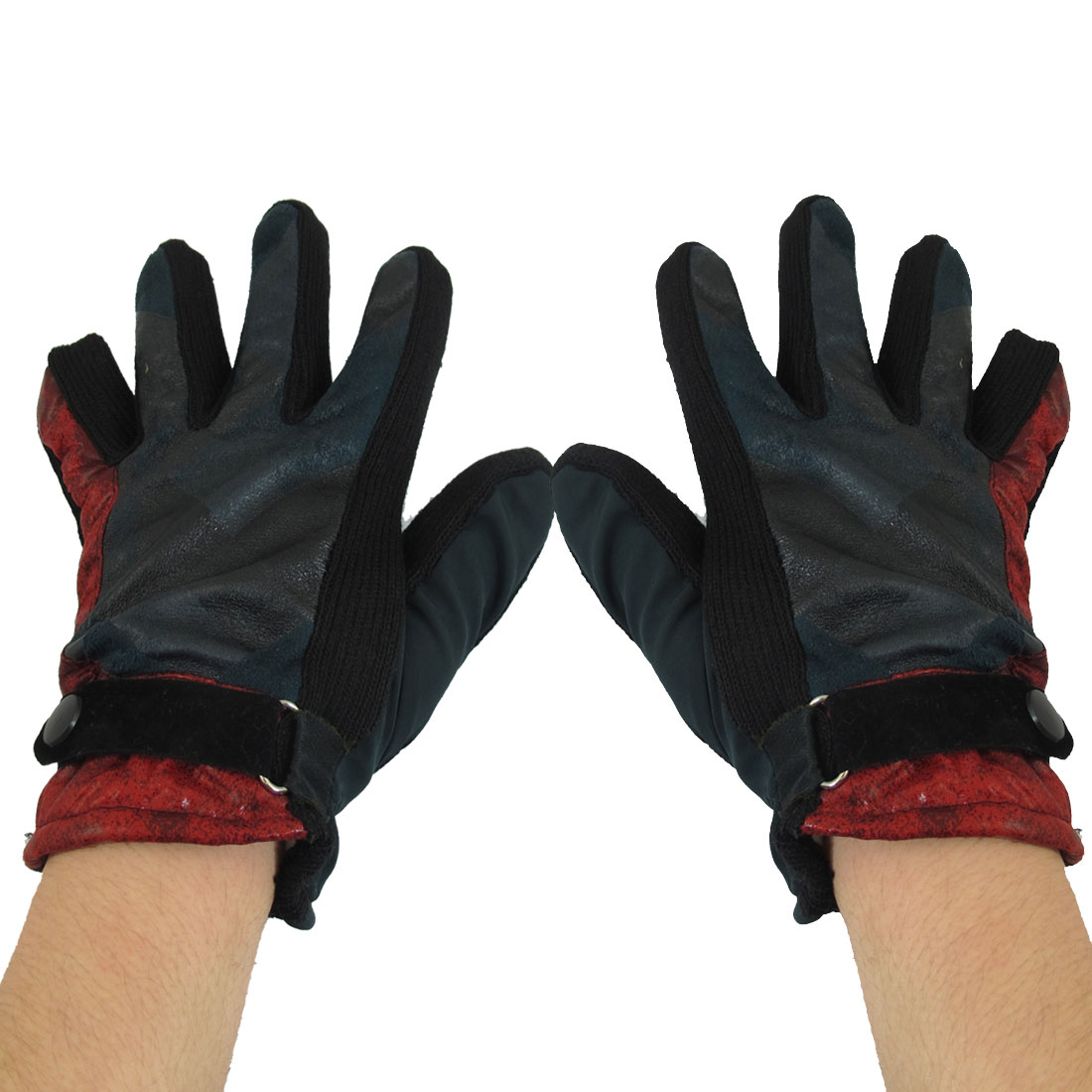 Unisex Winter Press Button Riding Full Finger Red Blue Warm Gloves Pair
