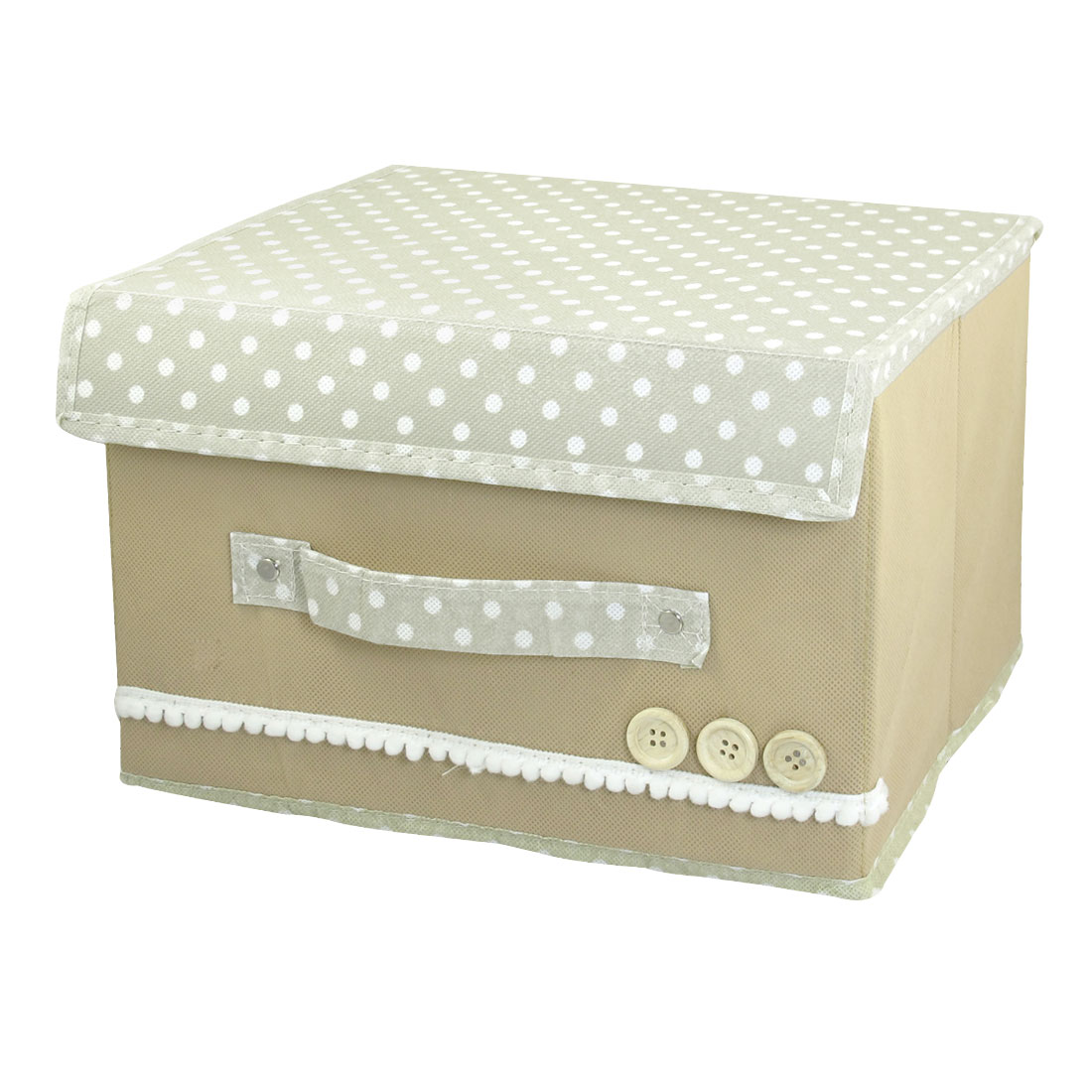 Detachable Closure Dots Design Beige Foldaway Storage Organizer Case Box