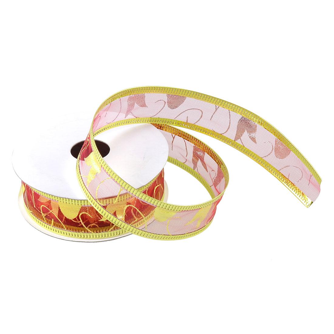 Wedding Christmas Decorative Burgundy Gold Tone Powder Nylon Ribbon Roll Tape