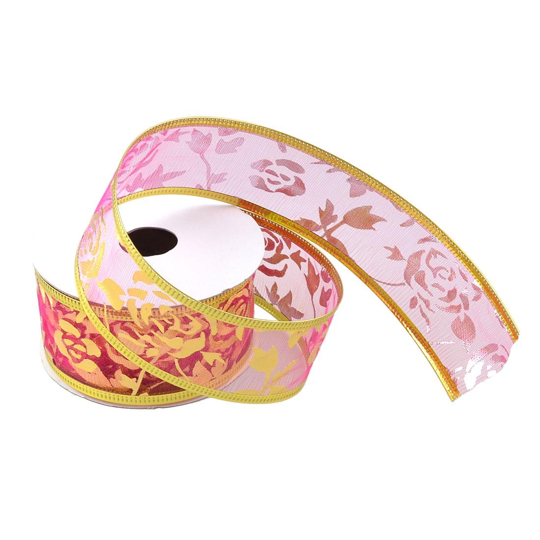 Wedding Decorative Fuchsia Gold Tone Flower Printed Powder Nylon Ribbon Tape