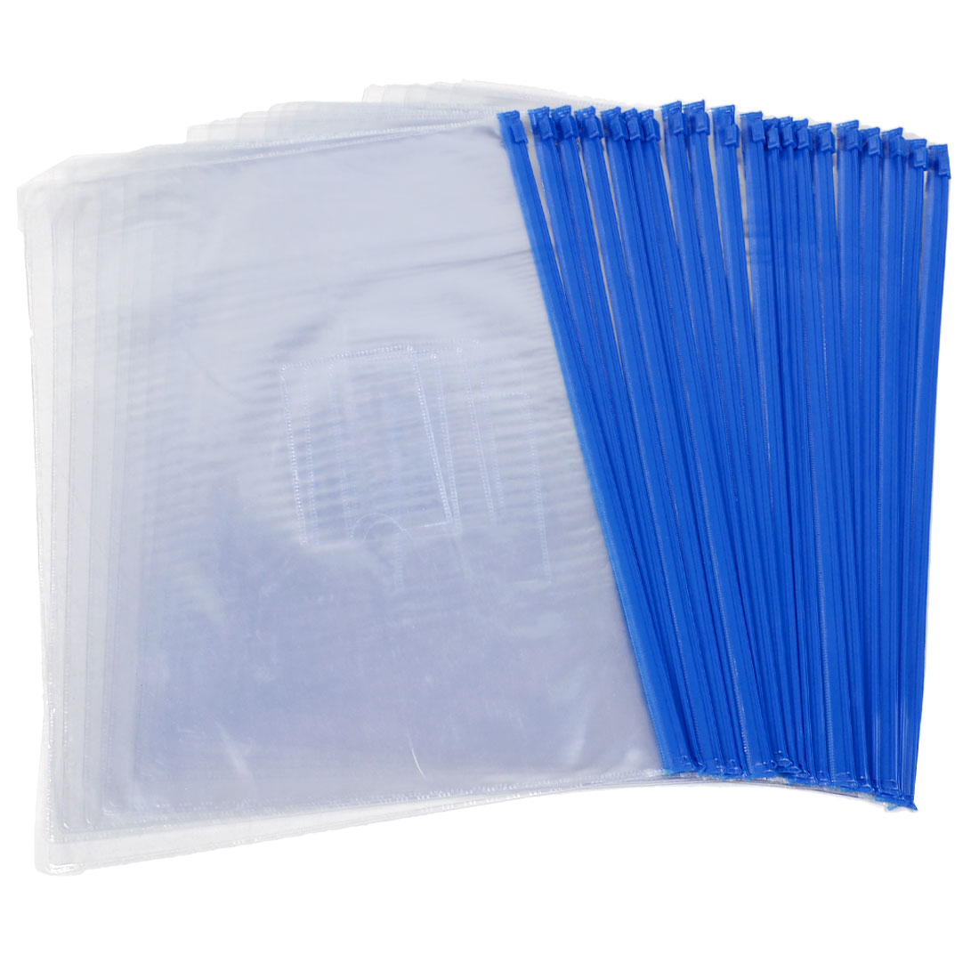 Blue Clear Size A4 Paper Slider Zip Closure Folders PVC Files Bags 20PCS