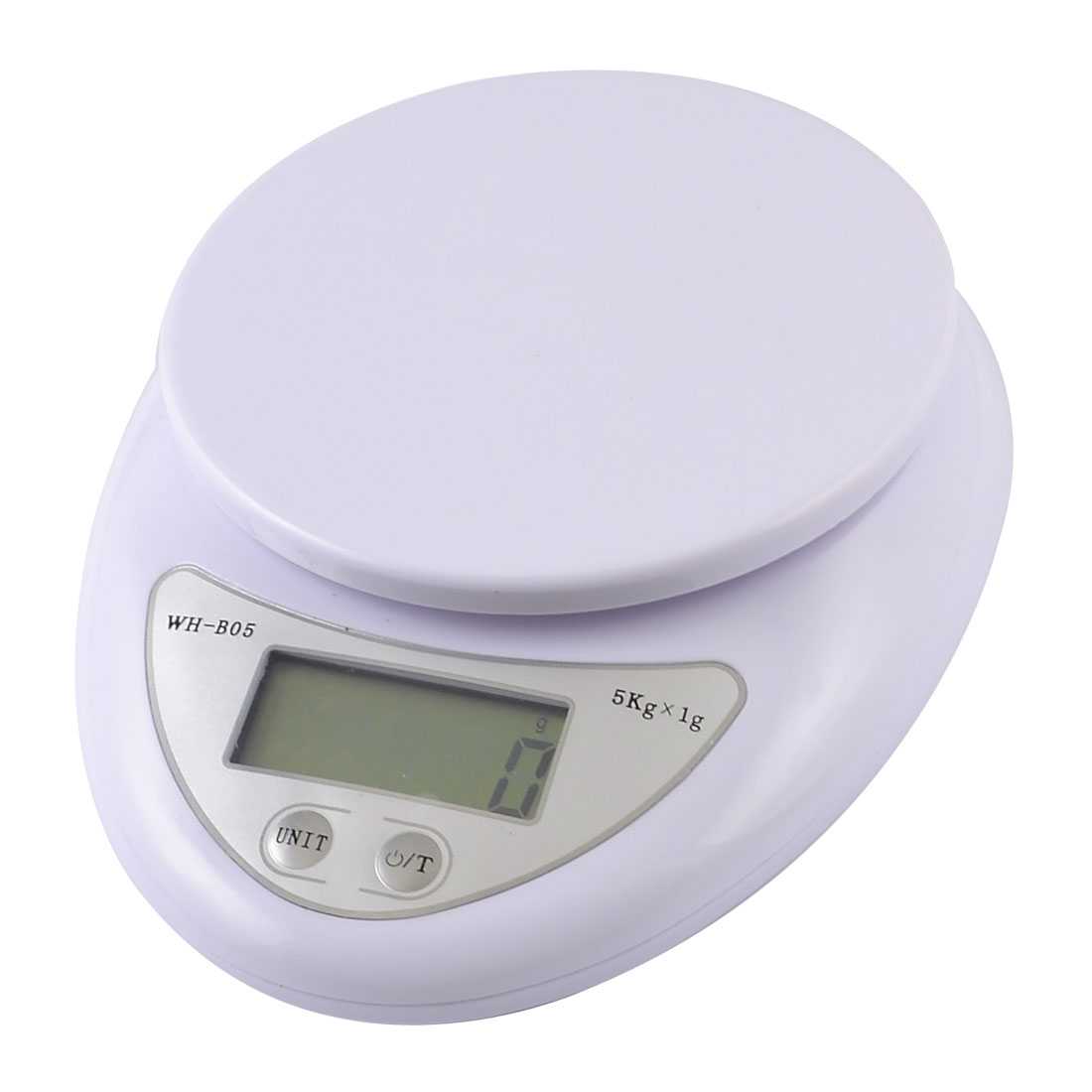 Kitchen 5Kg x 1g Battery Powered ON/OFF Weighing Digital Electronic Scale White