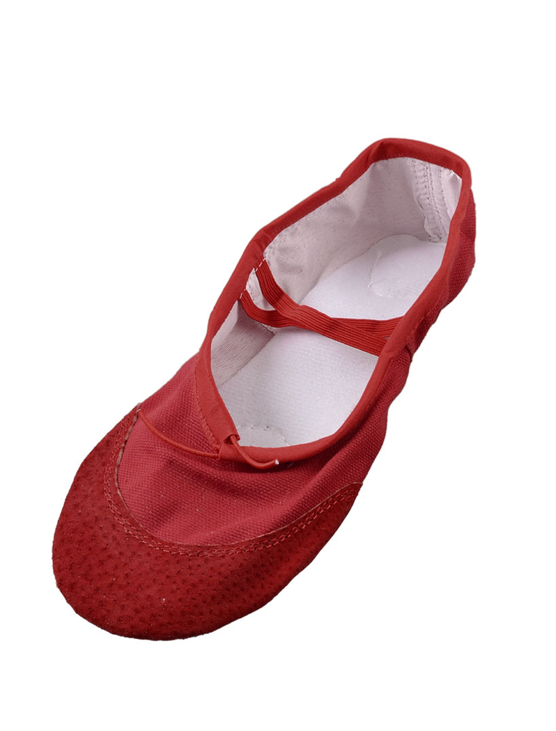 Women Red Soft Canvas Elastic Bands Flat Ballet Dancing Shoes US Size 6.5