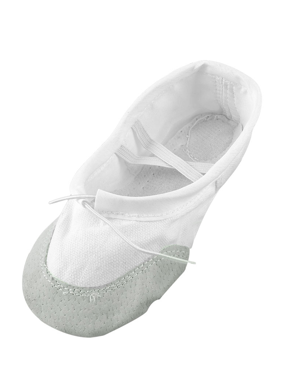 White Soft Canvas Elastic Cross Band Flat Ballet Dancing Shoes US 10.5 for Girl