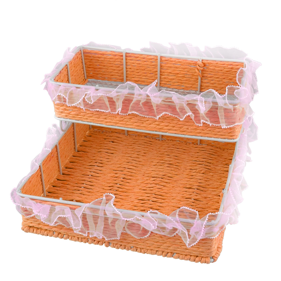 Metal Frame Two Layers Straw Weave Woven Storage Rack Bin Orange Pink