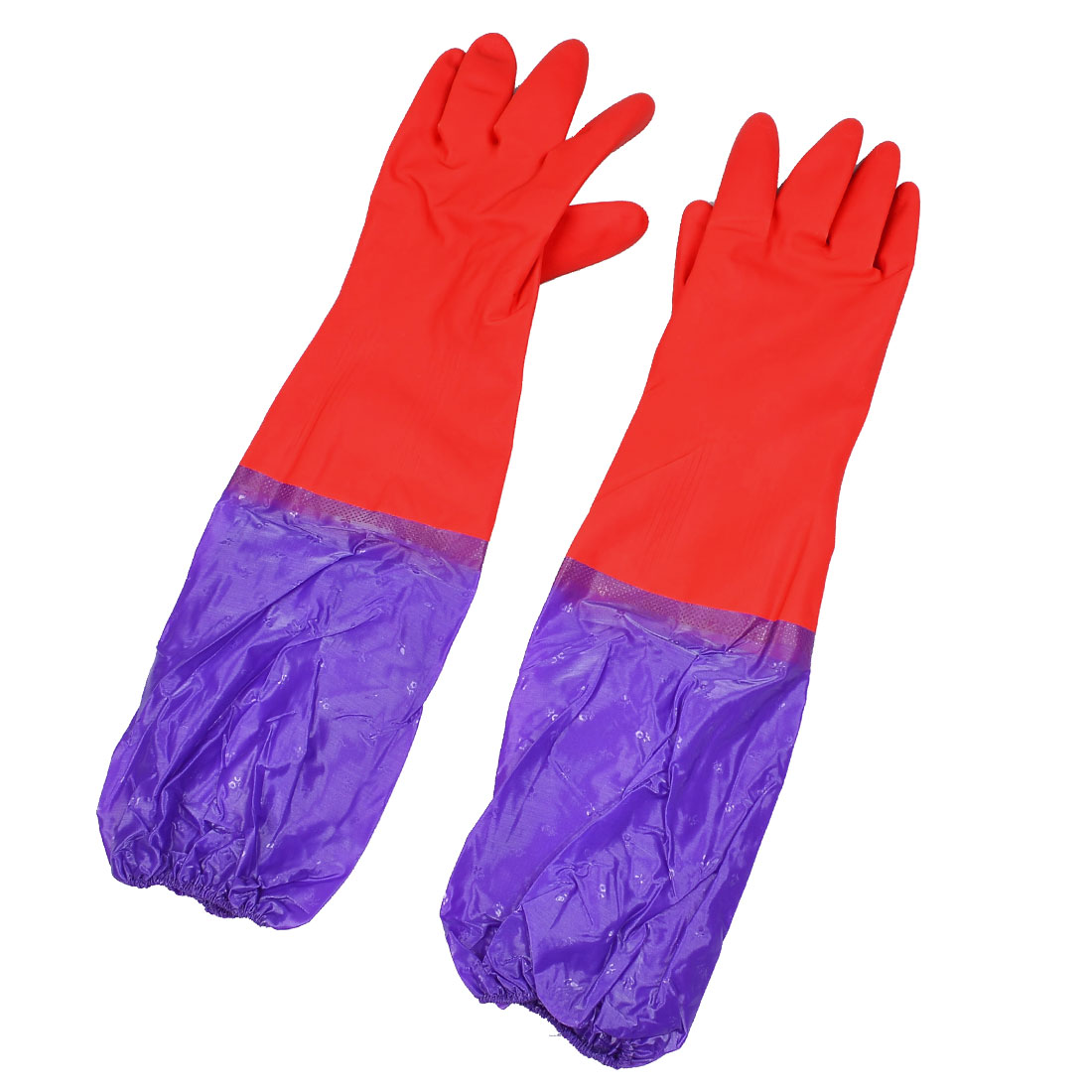 Latex Oversleeves Design Long Cuff Purple Working Cleaning Gloves Red Pair
