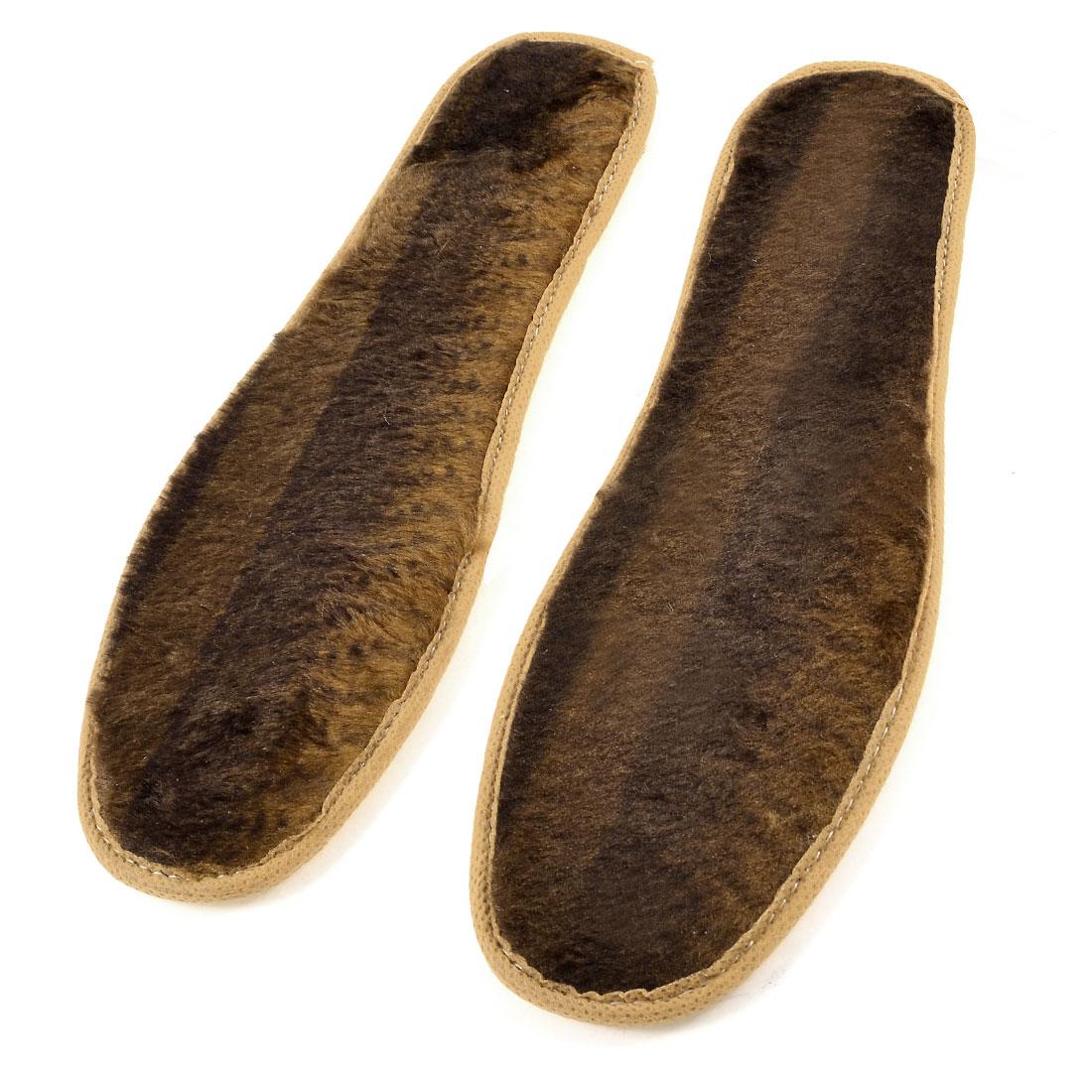 Women Winter Warm Two Tone Brown Faux Fur Insoles Shoe Pads Size 40 Pair
