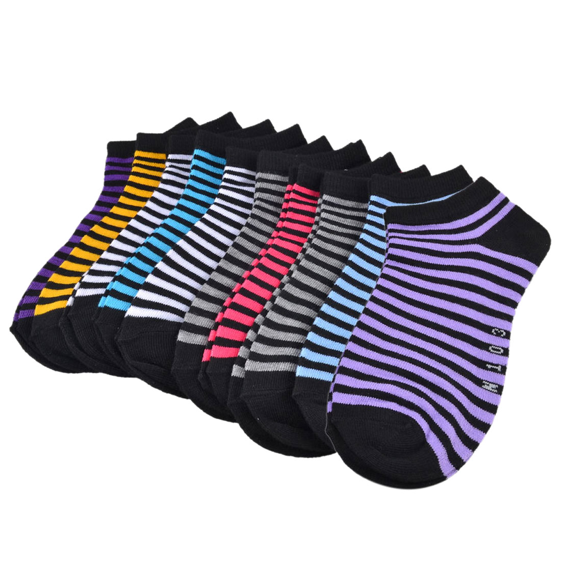 10 Pair Colorful Stretchy Cuff Striped Print Ankle Socks for Woman