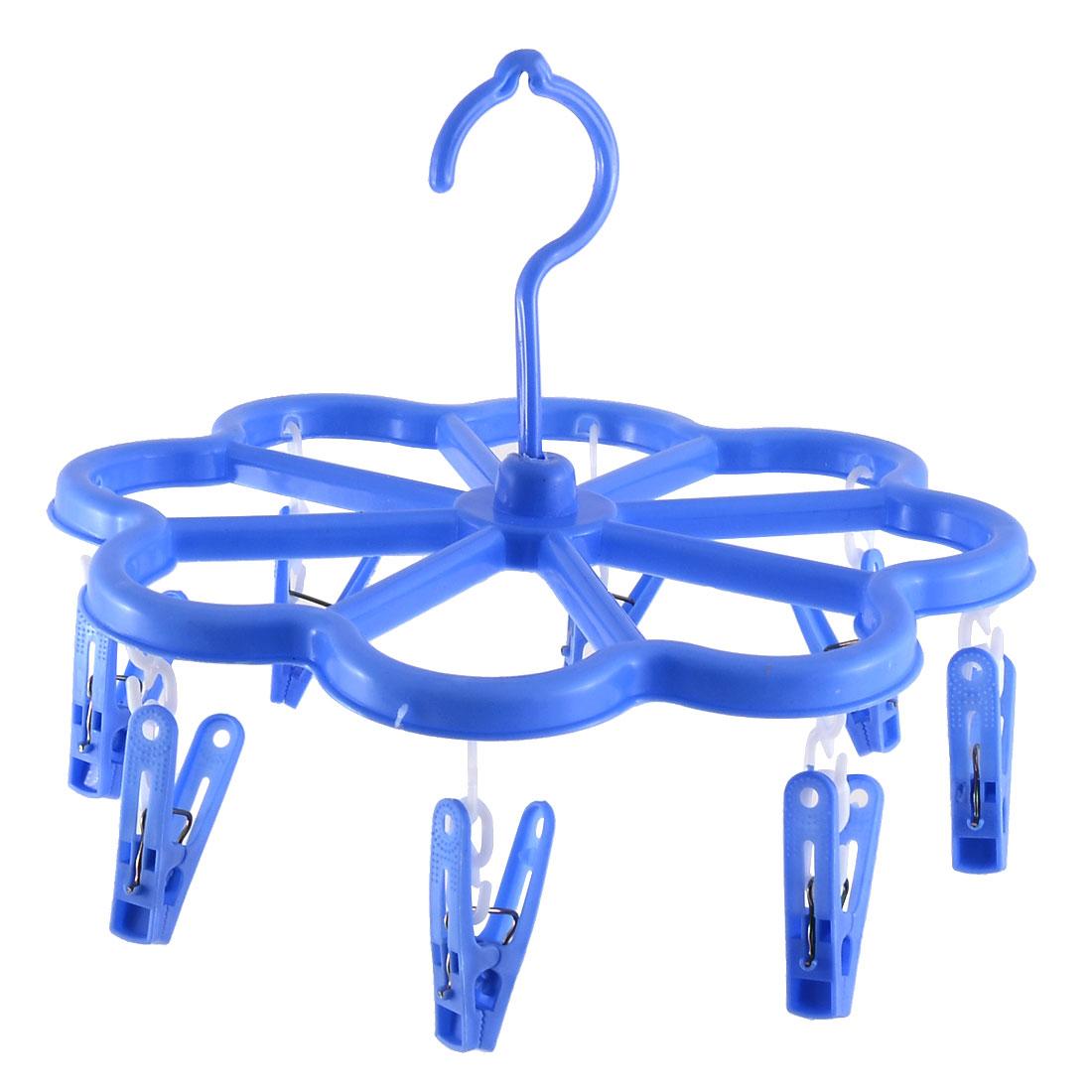 Plastic Flower Shaped 8 Clips Underwear Bra Shoelace Socks Clothes Hanger Peg Sky Blue