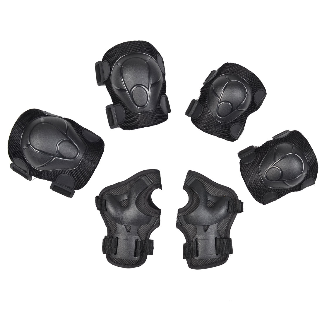 Tortoise Printed Skating Palm Elbow Knee Support Brace Protector Set Black 6pcs