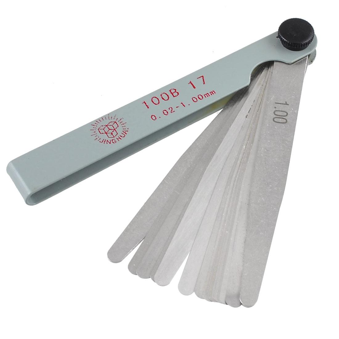 17 in 1 0.02-1.00mm Metric Gap Measure Feeler Gauge Tool 11cm Long