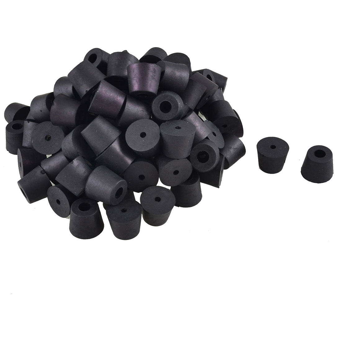 100 Pcs Black Conical Furniture Table Chair Leg Tips End Caps Foot Pad 16mmx10mmx12mm