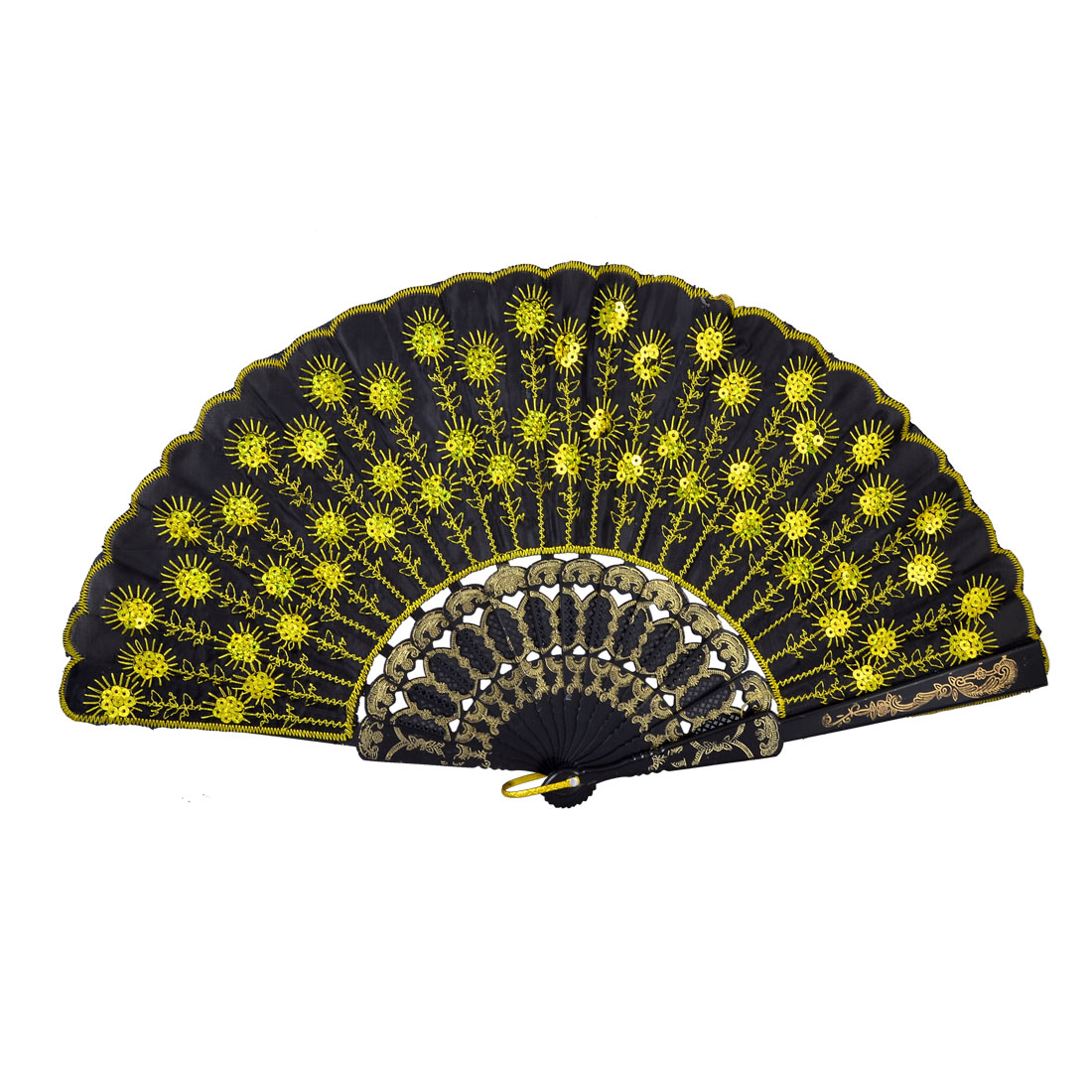 Lady Gold Tone Paillette Sequins Embroidered Floral Black Cloth Foldable Hand Fan
