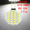 2 Pcs Side Pin G4 White 1210 3528 SMD 24 LED Bulb Light Lamp